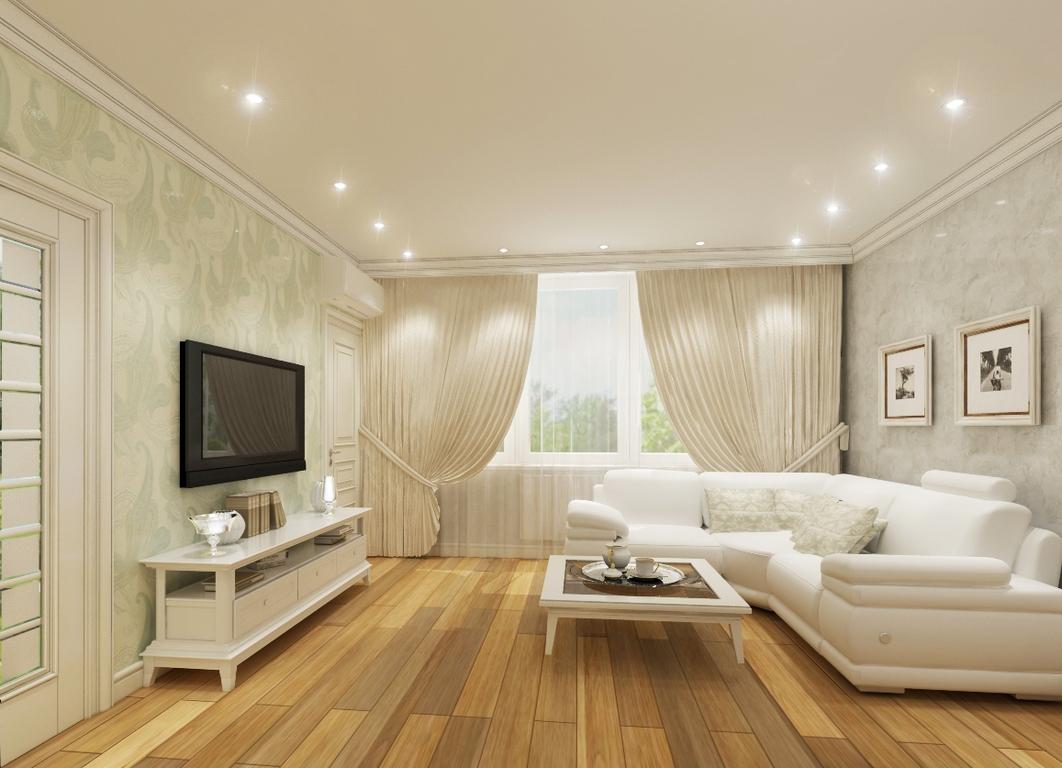Точечные светильники в интерьере гостиной фото
